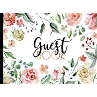 Guest Book: GORGEOUS Watercolor (Pink And Gold) Boho Chic With Gold Text And Floral Cover, Rustic Guestbook For Wedding…