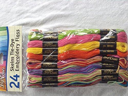 (J & P Coats 24 Skeins of Embroidery Floss Yarn Tie-Dye )