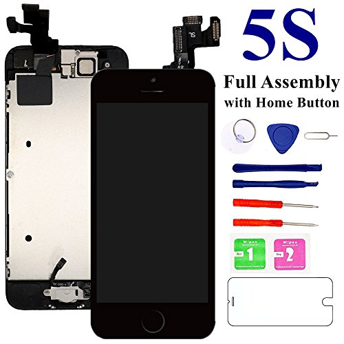 Nroech for iPhone 5S Screen Replacement (Black) 4.0'' with Home Button,Full Assembly with Camera,A1453 A1457 A1530 A1533 LCD Digitizer Display Retina Touch Screen Repair Kits with Tool + Protector 4' Touch Screen Display