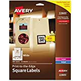 """Avery Easy Peel, Print-To-The-Edge, Permanent White Square Labels, True Block, 1.5"""" x 1.5"""", Pack of 600 (22805)"""