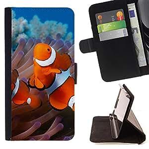 - goldfish - - Monedero PU titular de la tarjeta de cr?dito de cuero cubierta de la caja de la bolsa FOR Samsung Galaxy Core Prime Retro Candy