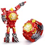 Transformers Toys Electronic Toy Watch Children's Digital WatchDeformation Toys Kids Transformers Robot Digital Watch Toy Kid-Fest Fun Deformation Robot for Boy (Red)
