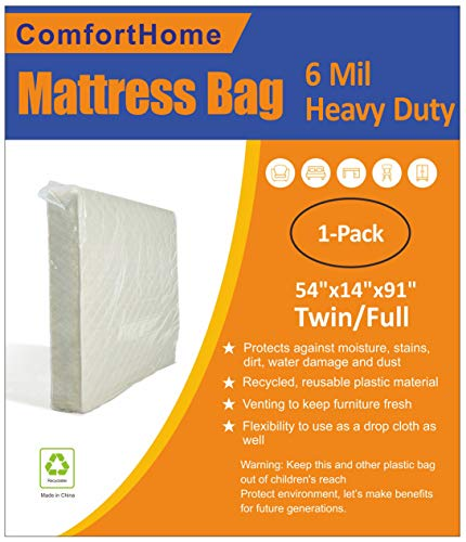 ComfortHome 6 Mil Heavy Duty Mattress Bag for Moving and Storage, Twin/Full Size, 1-Pack