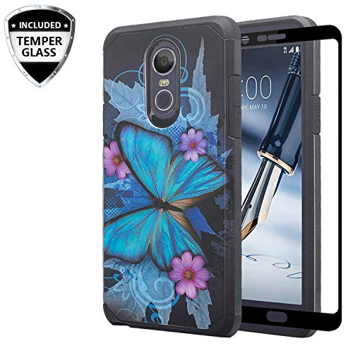 - [Coverlab] LG Stylo 4/LG Stylo 4 Plus Case Cover w/[ Temper Glass Screen Protector] Silicone Shock Proof Dual Layer Cute Girls Women Case Cover for LG Stylo 4/Stylo 4 Plus - Blue Buttery