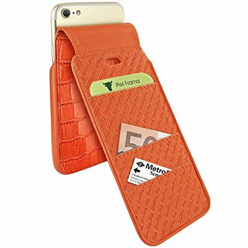 "Piel Frama ""iMagnum Leder Cover Fall für Apple iPhone 7–Krokodil Orange"