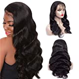 9A Body Wave Lace Front Wigs Human Hair 13x4 Lace Front Wigs For Black Women 180% Denisty Pre Plucked Hairline Body Wave Human Hair Wigs with Baby Hair(24'', Natural Color)