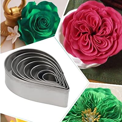 7pcs/set Stainless Steel Rose Petal Cake Cookie Cutter Mold Pastry Baking Mould