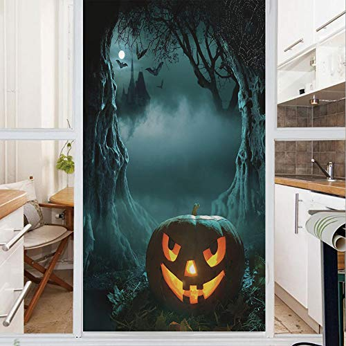 Decorative Window Film,No Glue Frosted Privacy Film,Stained Glass Door Film,Carved Pumpkin in Dark Misty Forest Ancient Trees Gloomy Scenic Horror Theme,for Home & Office,23.6In. by 47.2In Teal Orange