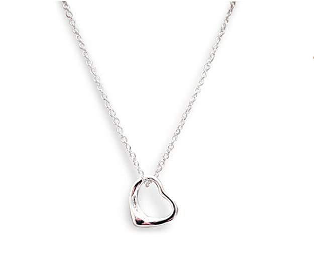 Heather Needham Sterling Silver Floating Heart Necklace on 16