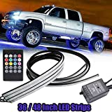 GTP Car Truck LED Underglow Neon Strip Underbody System RGB 8 Color Lighting System w/Sound Active Function and Wireless Remote Control 5050 SMD Light Strips (48/36 inch)
