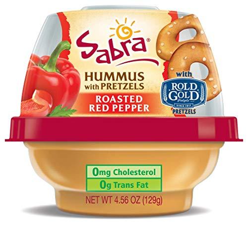 - Sabra Snackers Grab n' Go Hummus 4.56 oz Pack of 12 (Roasted Red Pepper Hummus with Pretzels)