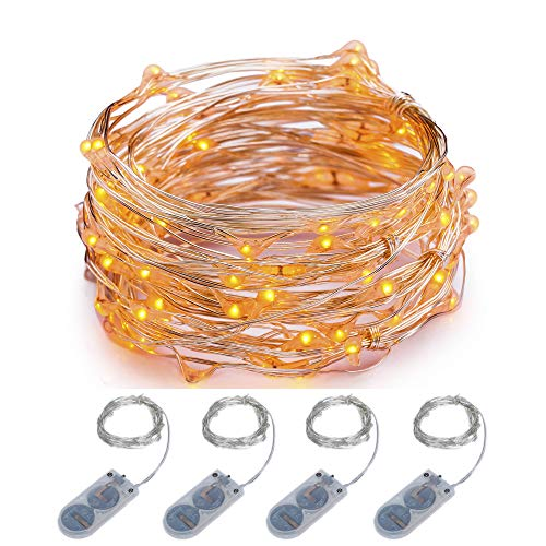 ITART Micro LED String Lights Battery Powered Set of 4 Orange Mini String Light 20 LEDs / 6ft (2m) Ultra Thin Silver Wire Rope Lights for Christmas Trees Wedding Parties Bedroom
