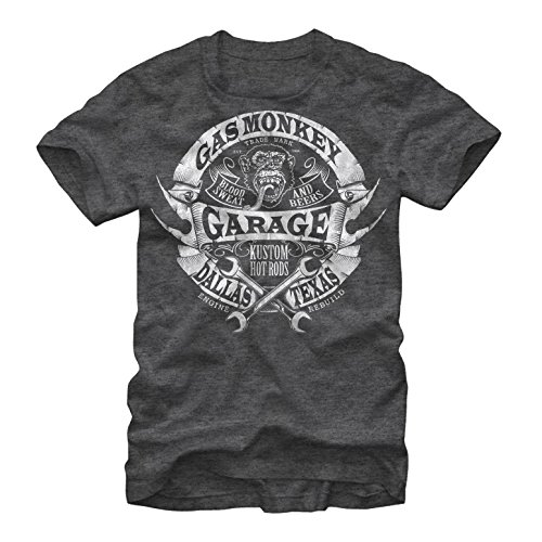 Gas Monkey Men's Banner Wrenches Charcoal Heather T-Shirt