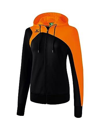 Erima Damen Club 1900 2.0 Trainingsjacke, mit Kapuze, schwarz orange, 34 f549149441
