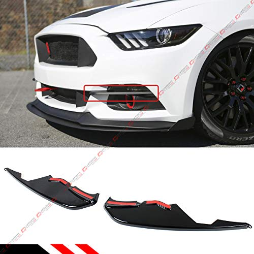 Fits for 2015-2017 Ford Mustang Painted Glossy Black Front Bumper Vent Winglets Fog Light Canard Trim