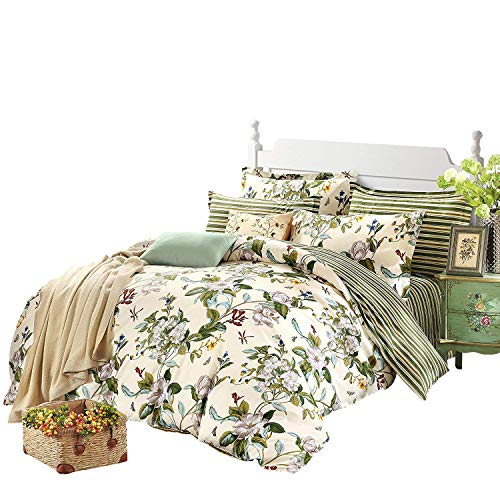 FADFAY Vintage Green Leaves and White Jasmine Summer Hawaiian Style Cotton Duvet Cover Set Floral Printed Bedding Twin Size 3-Piece