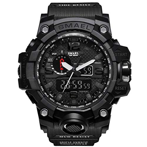 Military Analog - SMAEL Mens Digital Sports Watch Large Face Military Watches Electronic Waterproof Casual LED Stopwatch Alarm Digital Analog Dual Time Outdoor Army Wristwatch
