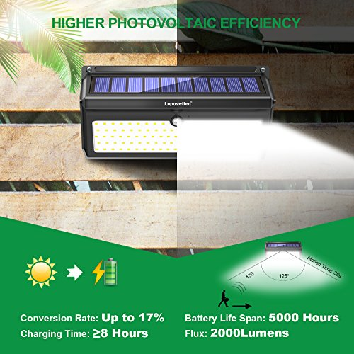 Solar Lights Outdoor 100 LEDs , Motion Sensor Wireless Waterproof Security Light, Solar Lights for Garden, Patio, Yard, Driveway, Garage, Porch , Pathway by Luposwiten [2PACK] by Luposwiten (Image #2)