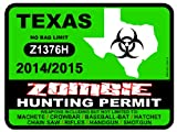 TEXAS Zombie Hunting Permit 2014/2015 Car Decal / Sticker