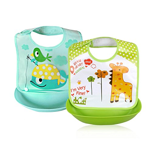 Dolphin Tray (Removable Waterproof Bib Easily Wipes Clean Comfortable Soft Baby Bibs (Giraffe & Dolphin))