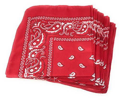 50 Bulk Western Neck Bandanas (Red) -