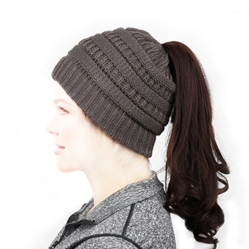 NIANPU Women's Knit Hat, BeanieTail Soft Stretch Cable Knit High Bun Ponytail Beanie Hat (Dark Gray) (Super Stretch Knit Hat)