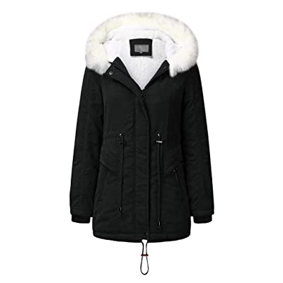 Sttech1 Women Winter Warm Fur Lined Outwear Lady Faux Fur Hooded Solid Long Sleeves Coat Overcoat Black: Clothing