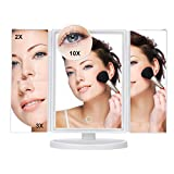 Tiyeebuy Makeup Vanity Mirror LED Lighted Touch Screen 2X/3X/10X Magnification Dimmable 180 Degree Adjustable Cosmetic Pocket Countertop White