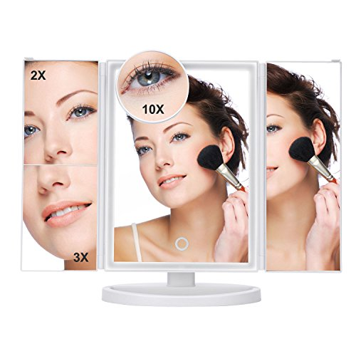 Tiyeebuy Makeup Vanity Mirror LED Lighted Touch Screen 2X/3X/10X Magnification Dimmable 180 Degree Adjustable Cosmetic Pocket Countertop White by Tiyeebuy