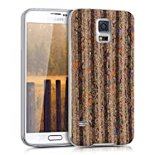 kwmobile Cork Case Nature for Samsung Galaxy S5 / S5 Neo / S5 LTE+ / S5 Duos - Cover Case with Design recycle stripes