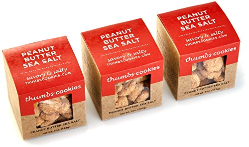 Thumbs Cookies Gourmet Peanut Butter with Sea Salt Cookie Pack of Fresh Baked Cookies - 3 Boxes - 1/3 lb. Cookie Gift Box