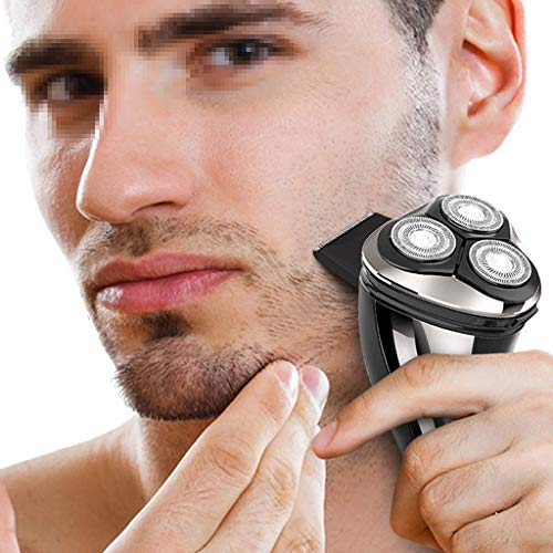 Electric Razor Blades Men's Rotary 3 Cutter Head Cordless with Shave Sensor Technology & Wet/Dry Convenience,Silver White Shavers for Men,Gold