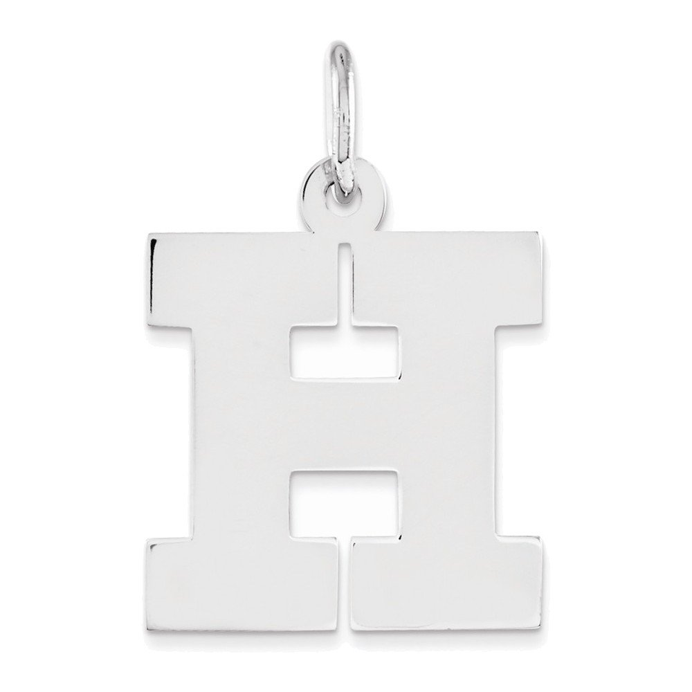 Jewelry Adviser Charms Sterling Silver Medium Block Initial H Charm