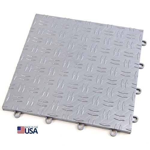 IncStores 12in x12in Grid-Loc Garage Flooring Tiles (12 Tile Pack) Interlocking Modular Floor System With Built-In Drainage and Snap Together Installation (Plastic Garage Floor Tiles)