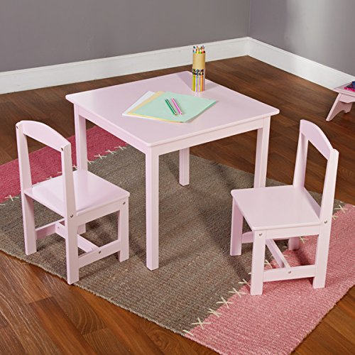 Kids Activity Table and Chairs Set 3-piece Wooden Toddler Room Kit Furniture (Pink) TMS TMS99077