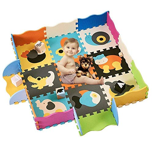 HAN-MM Baby Play Mat with Fence Interlocking Foam Floor Tiles Crawl Mat Baby Tiles Play Puzzle Mat with Softer Thicker EVA Foam Mat for Kids Toddlers Babies Style 14(2)