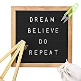 Changeable Black Felt Letter Board 10x10 Inch with 340 Letters, Tripod Stand, Scissors & Canvas Bag - Message Sign Board with Emoji, Alphabet, Numbers - Oak Message Board, Marquee Sign by Inner Select