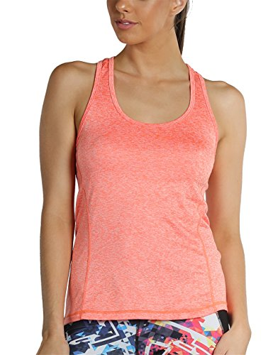 icyzone Activewear Running Workouts Clothes Yoga Racerback Tank Tops for Women (M, Orange Heather)