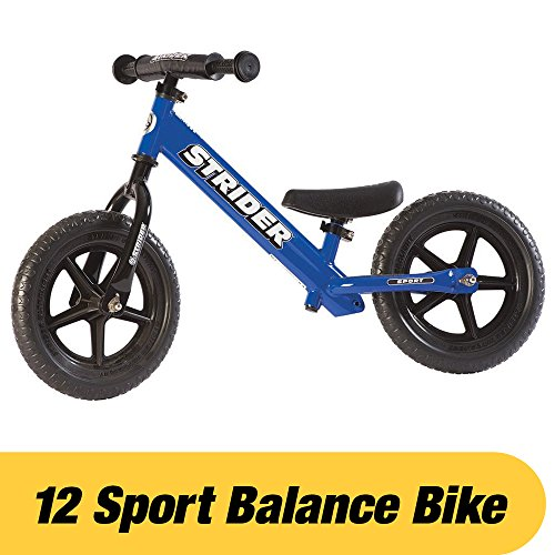 Strider - 12 Sport Balance Bike, Ages 18 Months to 5 Years, Blue Balance Training Bike