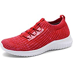 TIOSEBON Women's Lightweight Casual Walking Athletic Shoes Breathable Flyknit Running Slip-On Sneakers 11 US Red