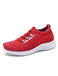 TIOSEBON Women's Lightweight Casual Walking Athletic Shoes Breathable Flyknit Running Slip-On Sneakers
