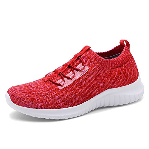 TIOSEBON Women's Lightweight Casual Walking Athletic Shoes Breathable Flyknit Running Slip-On Sneakers 10 US Red
