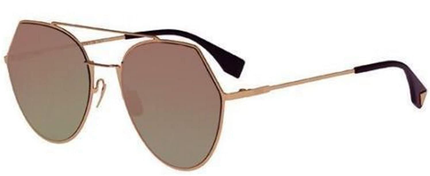 545d8a61a25 Amazon.com  Fendi EYELINE FF 0194 S DDB AP rose gold dark green fuchsia  mirror Sunglasses  Clothing