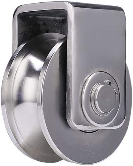1 U-Groove Ruedas de Acero Inoxidable 304,Polea Rígidas de Pesado,Ruedas Direccional,Doble Rodamiento,para Tubo Redondo,Riel de Cable,Puerta Corrediza,Carro Mecánico Industrial (32mm)