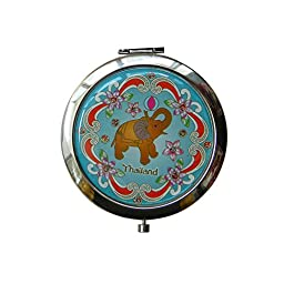 Compact Makeup Cosmetic Mirror for Purses or Travel 2 Inch Unique Design by Thai Made (Elephant Only)