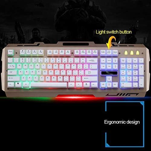 Chunjiao ZGB G700 104 Clés USB Filaire mécanique RGB Feel Rétro-éclairage Panneau métallique Suspension de Jeu Clavier avec téléphone Titulaire Clavier (Color : Gold) Gold