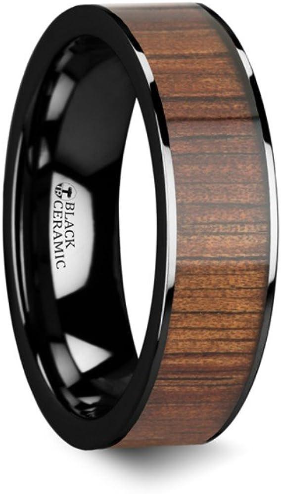 Thorsten ATREUS Polished Black Ceramic Flat Wedding Band with Exotic Hawaiian Koa Wood Inlay 6mm from Roy Rose Jewelry