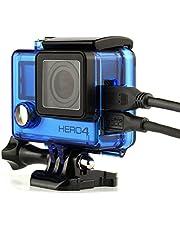 Nechkitter Side Open Skeleton Housing for GoPro Hero4 Hero3+ Hero 3 Cameras, Protective Housing Case with Hollow Backdoor Blue