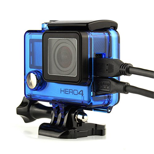 Side Open gopro Skeleton Housing For GoPro Hero4 Hero3+ Hero 3 cameras HDMI,USB,TF Card Access With Hollow bckdoor and Lens Blue