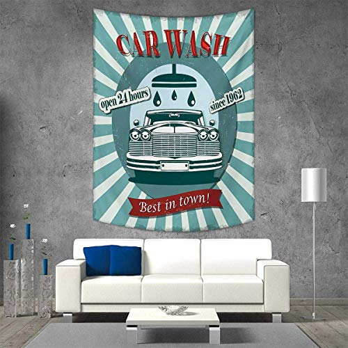 smallbeefly Retro Tapestry Table Cover Bedspread Beach Towel Vintage Graphic Design for a Car Wash Sign Commercial with Aged Classic Retro Arsty Dorm Decor 40W x 60L INCH Red Teal by smallbeefly